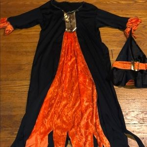 Witch Costume with Crushed Orange Velvet Detail